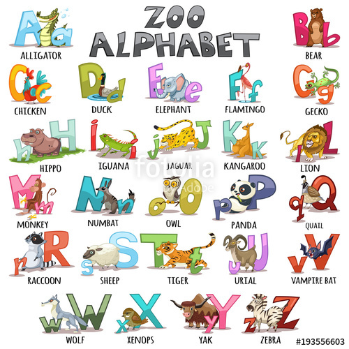 500x500 Alphabet For Kids. Abc Animals Letters. Cartoon Vector