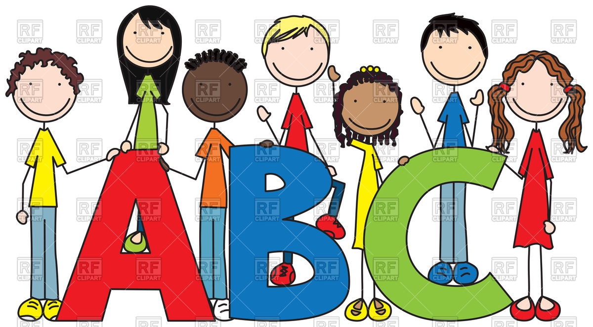1200x661 Cartoon Illustration Of Seven Kids And Letters Abc Vector Image