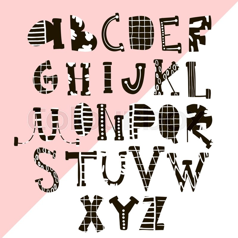 800x800 Creative Hand Drawn Alphabet With Textures. Stylish Abc.vector
