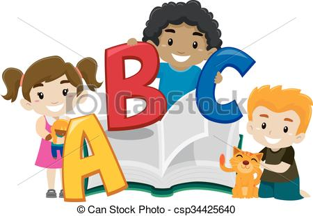 450x311 Cute Kids Holding A Book Abc. Vector Illustration Of Cute Kids On