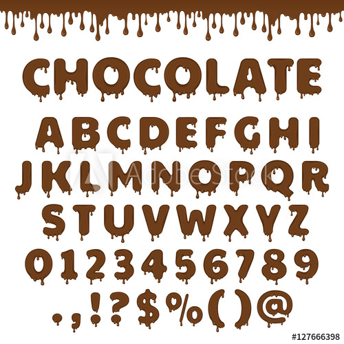500x500 Dark Chocolate Latin Alphabet, Abc. Vector Font Type With Flow And