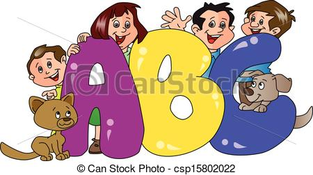 450x252 Vector Of Happy Family With Abc Blocks In Foreground. Vector