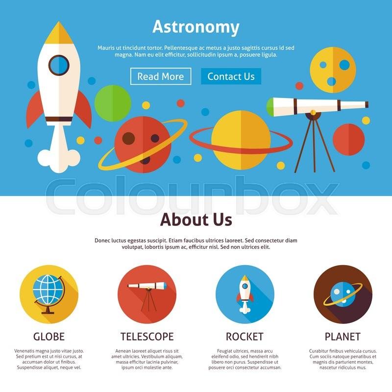 800x800 Astronomy Science Flat Web Design Template. Vector Illustration