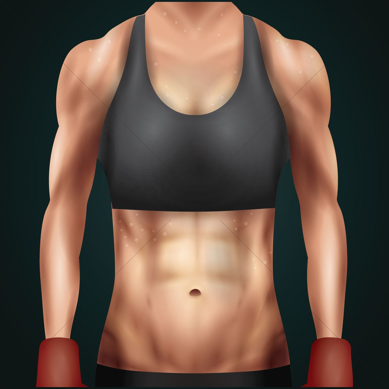 1300x1300 Fitness Woman Showing Abs Vector Image