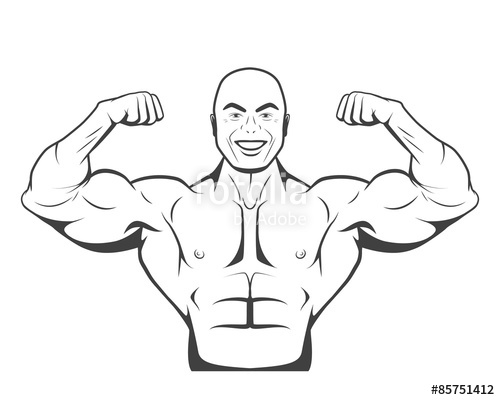 500x400 Strong Bodybuilder Man With Perfect Abs, Shoulders,biceps Stock