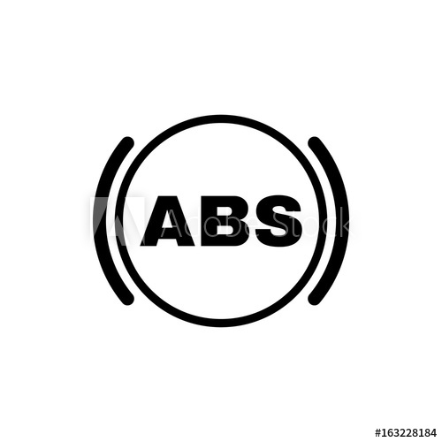 500x500 The Abs Icon. Brake And Car Symbol. Flat Design. Stock