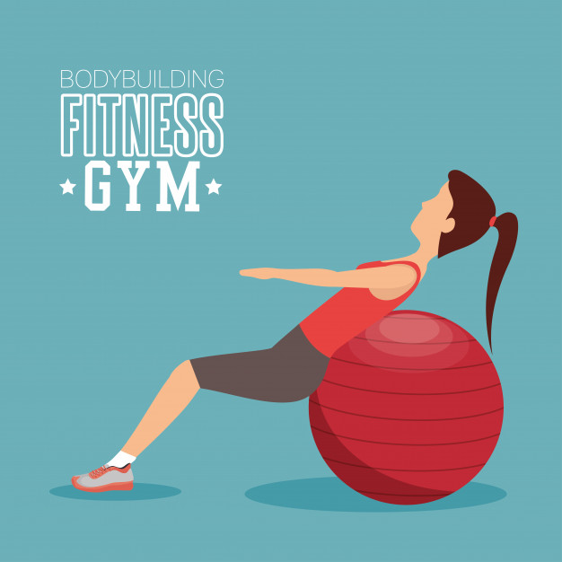 626x626 Woman Training Abs With Sphere Ball Fitness Gym Vector Premium