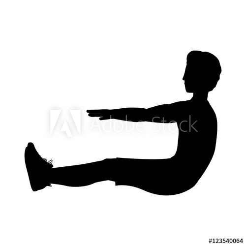 500x500 Silhouette With Man Exercise Abs Vector Illustration