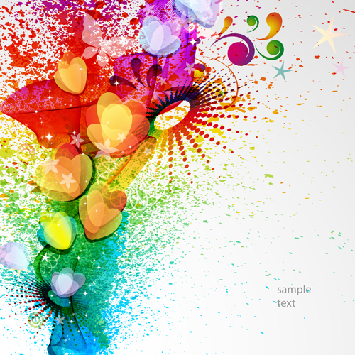 500x500 Abstract Elements With Heart Grunge Background Vector Free Download