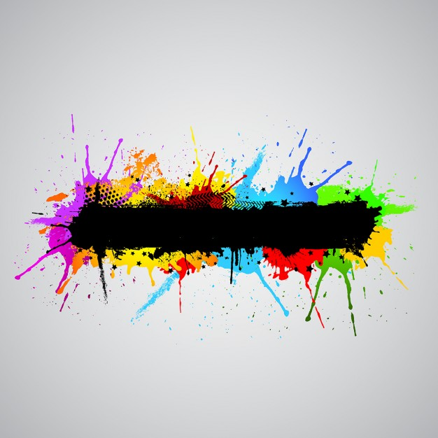 626x626 Abstract Grunge Background With Colourful Paint Splashes Vector