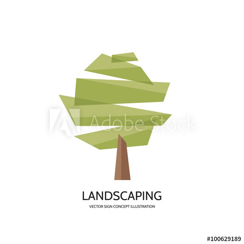 500x500 Abstract Tree Vector Logo Concept Illustration. Landscaping