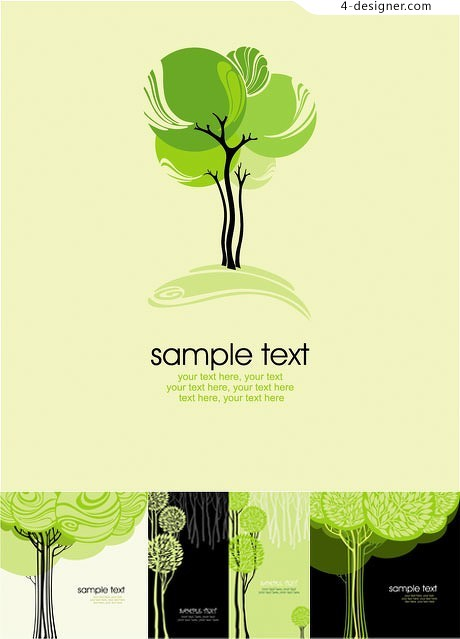 460x639 4 Designer Fashion Abstract Tree Vector Material