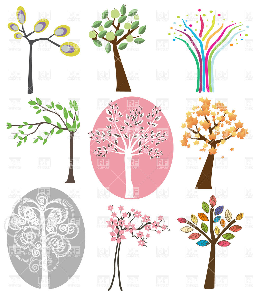1028x1200 Nine Abstract Trees Set Vector Image Vector Artwork Of Plants