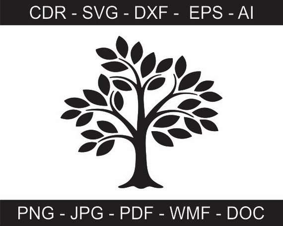 570x455 Abstract Tree Vector File Printable Tree Clipart Iron On Etsy