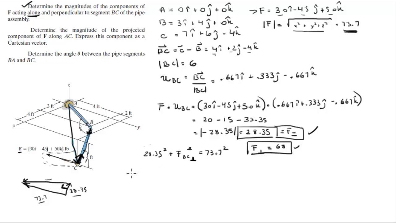 1280x720 Find The Components Of F Along And Perpendicular To Bc, Ac A,d