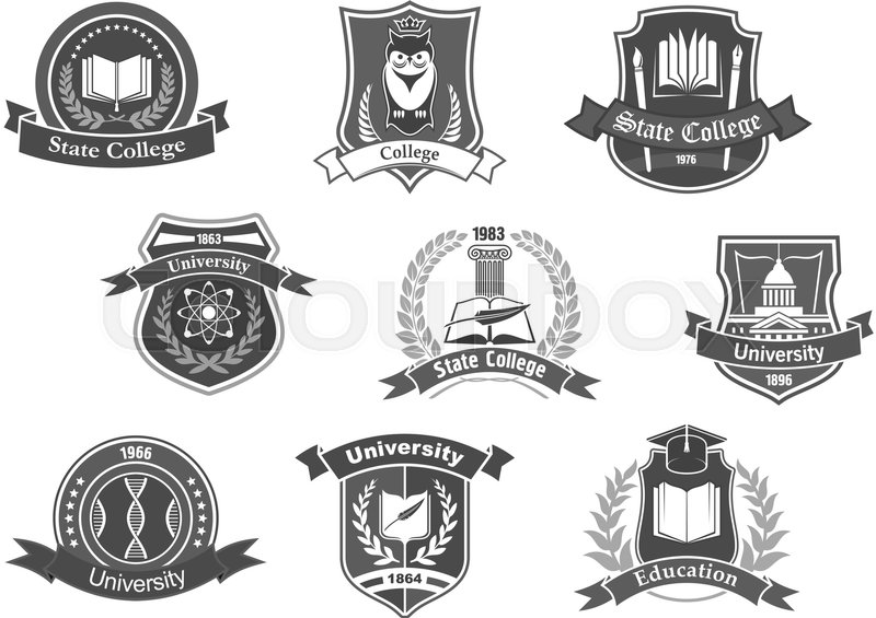 800x565 College, University And Academy Vector Icons Or Badges Set