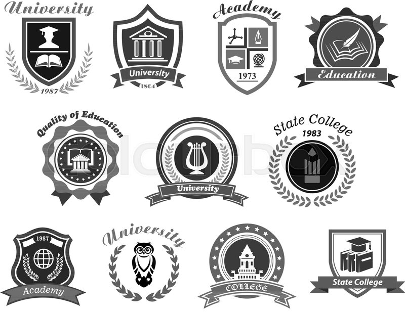800x617 University, College And Academy Vector Icons. Badge Shields For