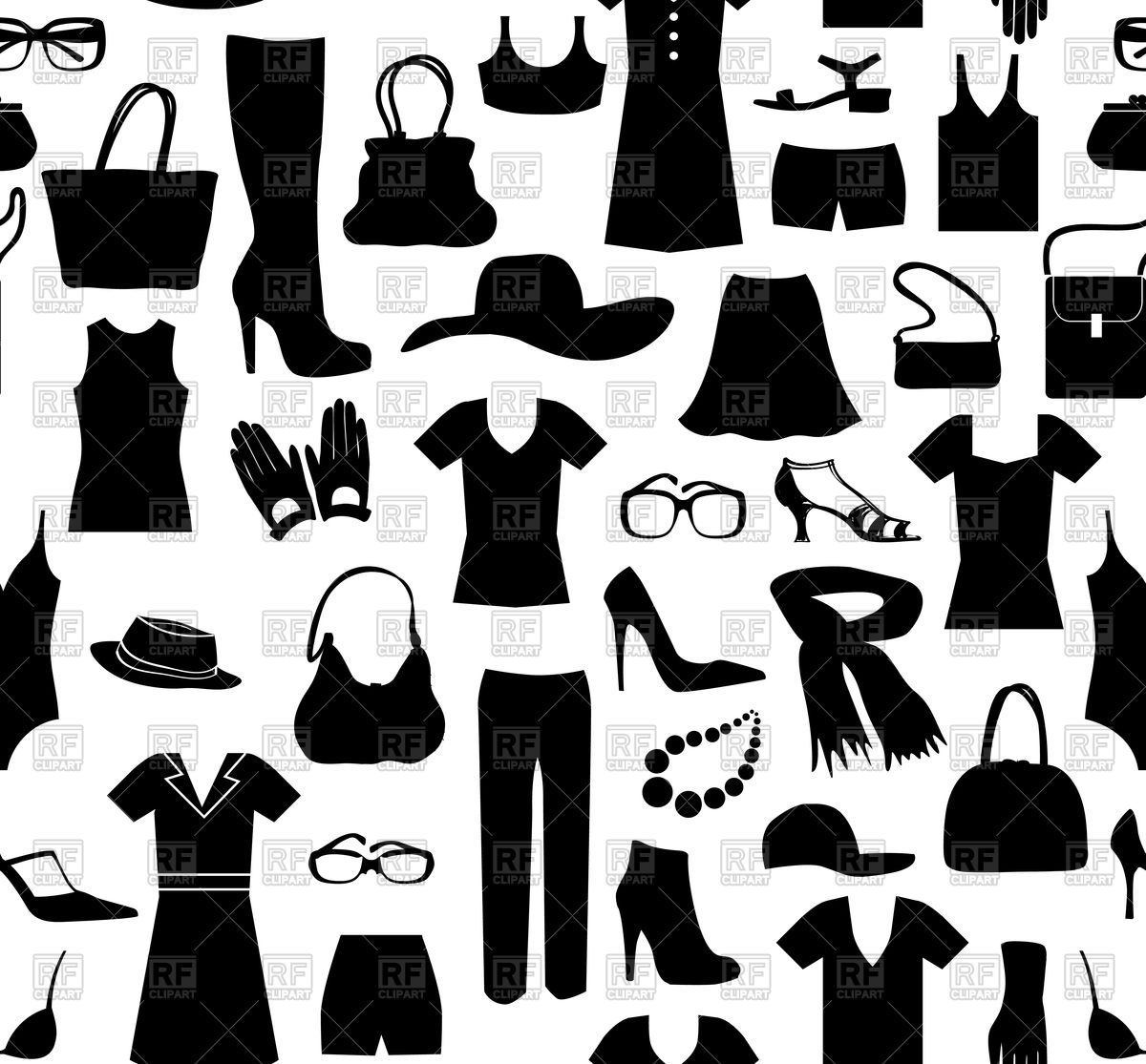 1200x1115 Fashion Cloth Seamless Pattern. Women Clothes And Accessories