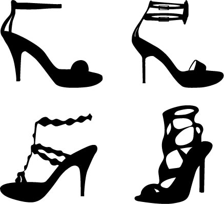 437x397 Fashion Clothes And Accessories Silhouettes Vector