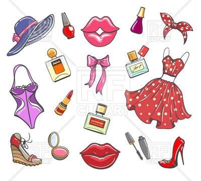 400x360 Girls Fashion Hand Drawn Elements. Sketch Women Accessories