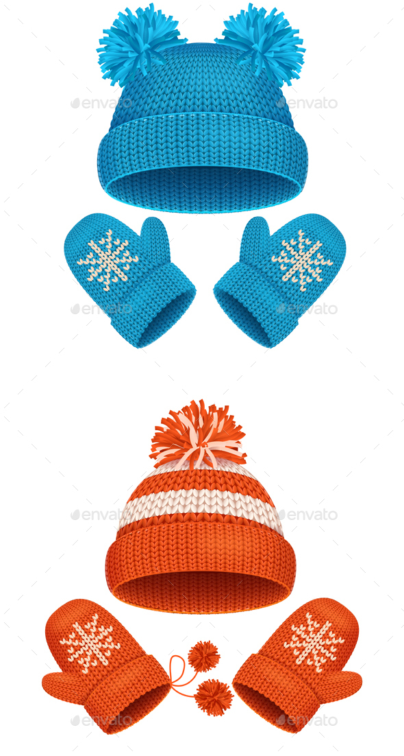 590x1102 Hat And Mitten Set Winter Accessories. Vector By Mousemd