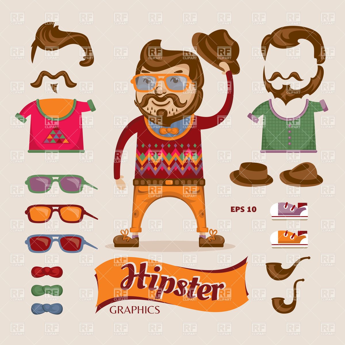1200x1200 Man With Hipster Accessories Vector Image Vector Artwork Of