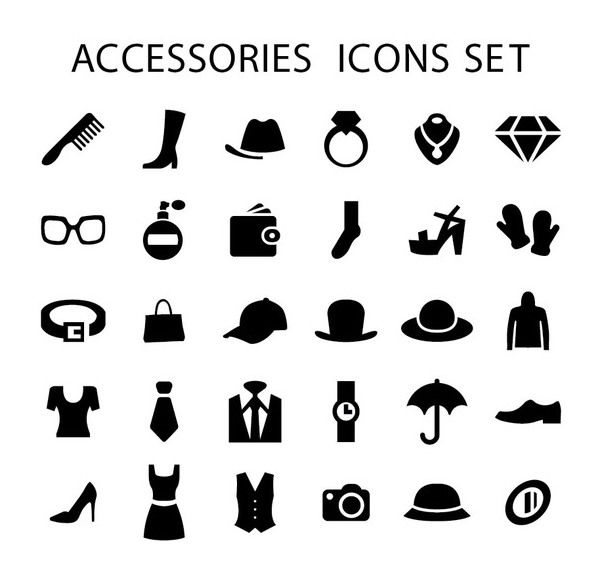 602x583 Men Women Fashion Accessories Icons Free Vector Download 173005