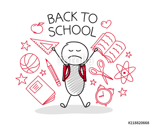 500x416 School Background With Cartoon Character And Accessories. Vector
