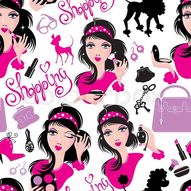 800x800 Seamless Pattern For Fashion Design, Glamor Lovely Girls Using