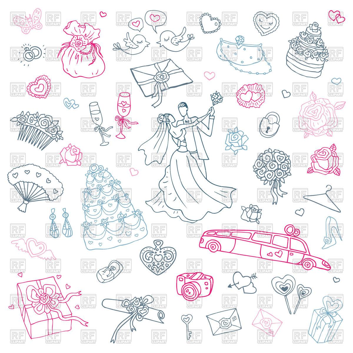1200x1200 Set Of Sketch Wedding Accessories Vector Image Vector Artwork Of