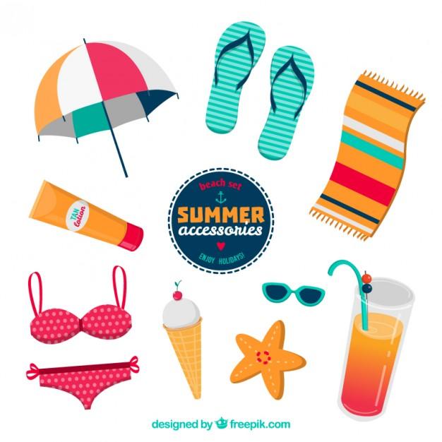 626x626 Summer Accessories Vector Free Download