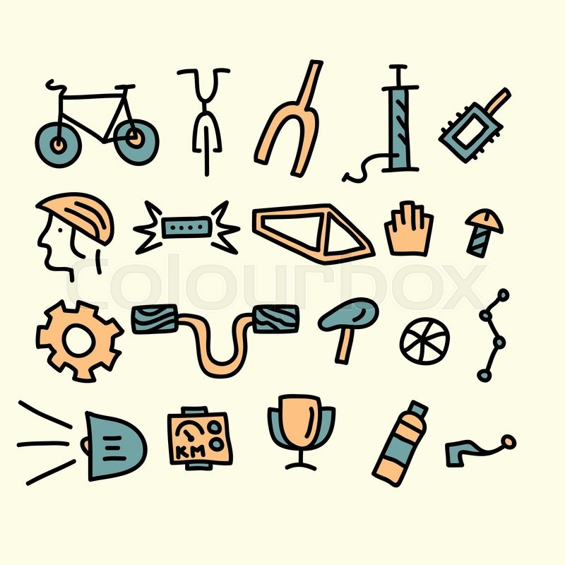 800x800 Bicycle Parts And Accessories.vector Illustration. Stock Vector