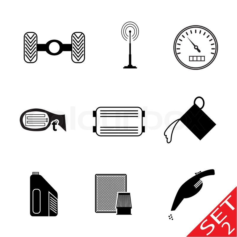 800x800 Car Icon Parts And Accessories Vector Illustration Stock Vector