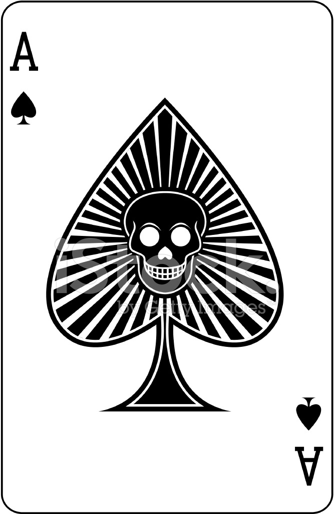 667x1024 Ace Of Spades With Skull Playing Card Stock Vector