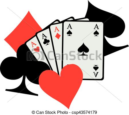 450x402 Four Aces Playing Cards With Big Poker Icons Spades Hearts