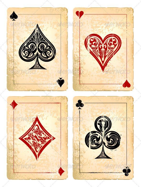 590x782 Grunge Poker Cards Vector Set Casino Poker Poker