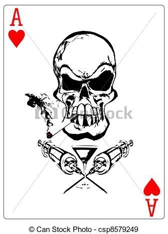 337x470 Dependencies Ace. Illustration Of The Skull In The Poker Card.