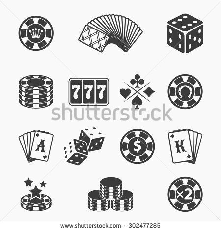 450x470 Gambling Icons Set. Card And Casino, Poker Game, Dice And Ace