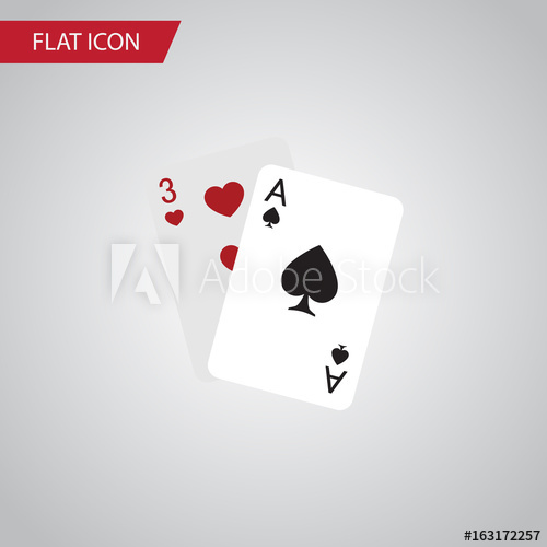 500x500 Isolated Gambling Cards Flat Icon. Ace Vector Element Can Be Used