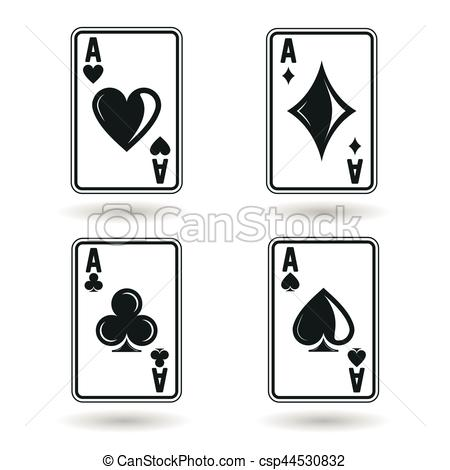 450x470 Set Of Aces. Ace Playing Cards, Four Suites, Isolated On White