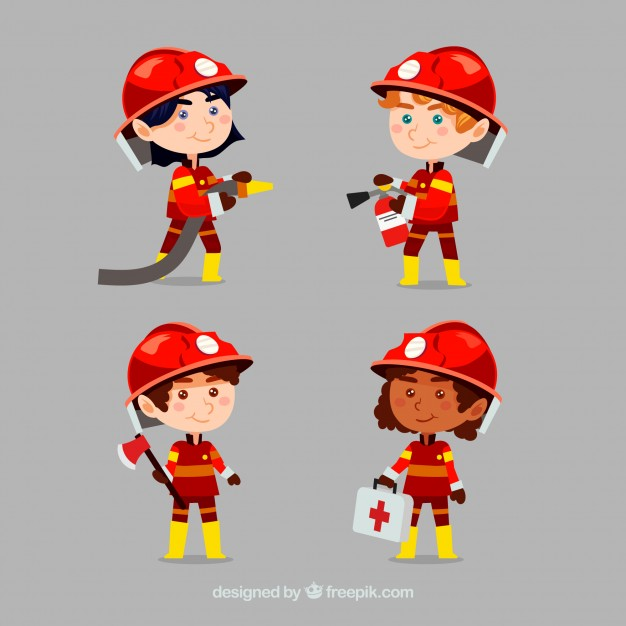 626x626 Cartoon Fireman Characters In Action Vector Free Download