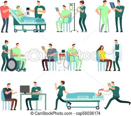 450x397 Doctors, Medical Nurse And Patients In Hospital Activity Vector