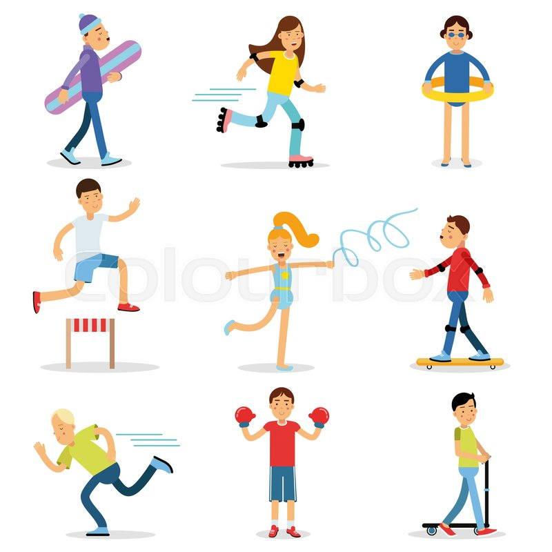 800x800 Teenagers Children Playing Sports Set. Children Physical Activity