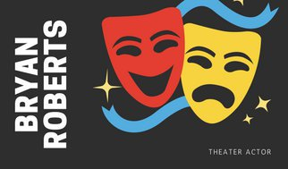 322x189 Black Theater Masks Vector Actor Business Card