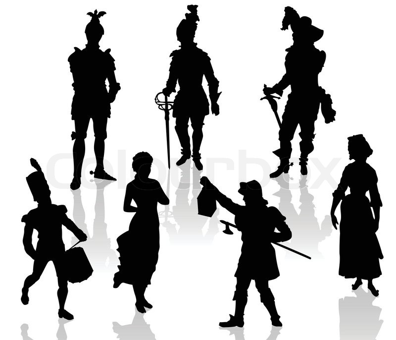 800x686 Silhouettes Of The Actors In Theatrical Costumes. Stock Vector
