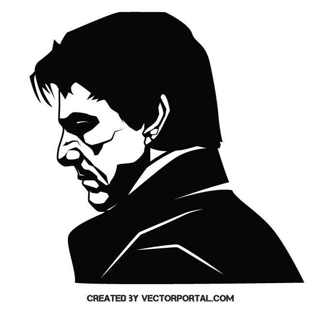 660x660 Actor Tom Cruise Vector Illustration Stencil Art Silhouette