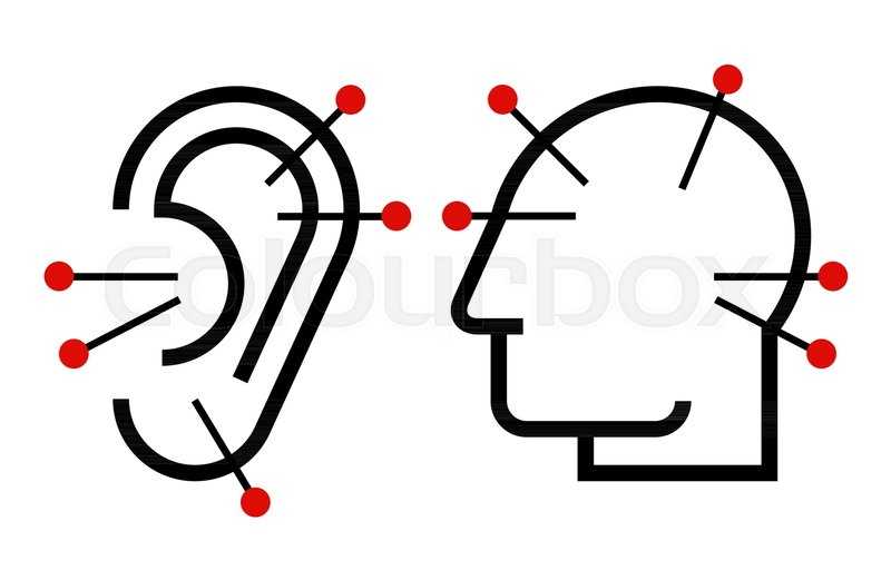 800x512 Ear And Head Acupuncture. Acupuncture Symbol Isolated On White