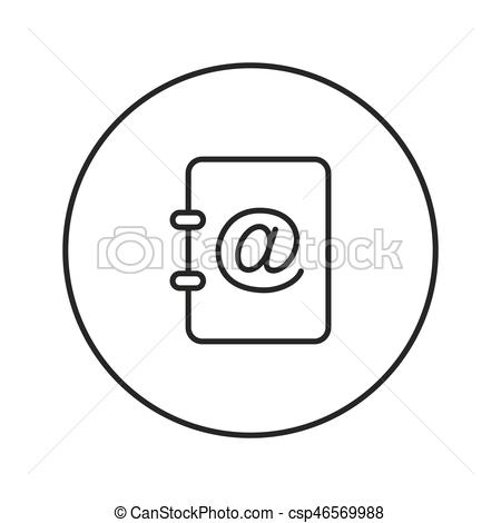 450x470 Address Book. Line Icon. Address Book. Icon For Web And Mobile