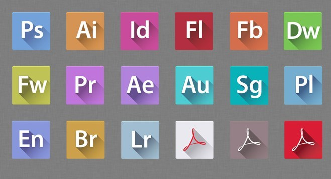 659x356 Free Flat Long Shadow Adobe Creative Suit 6 Icons