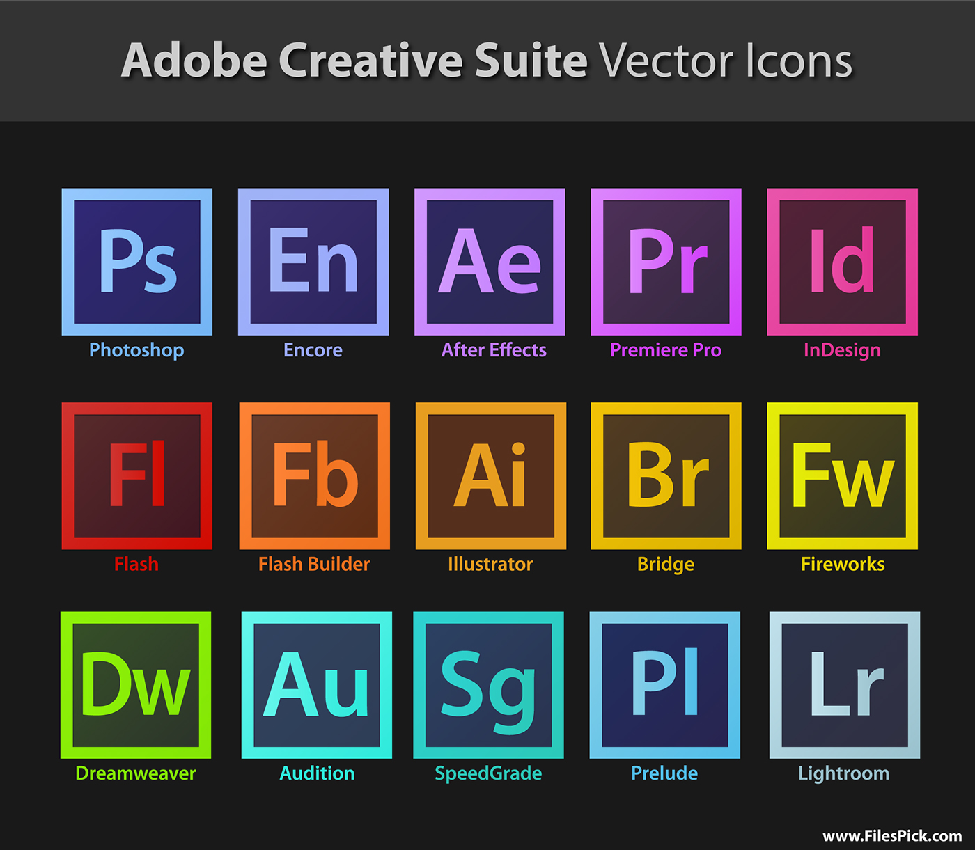 1400x1221 Adobe Creative Suite Vector Icons Download On Behance